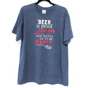 BEER QUOTE GRAPHIC T SHIRT, LARGE
